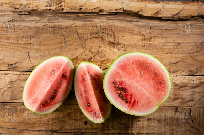 Watermelon on brown background