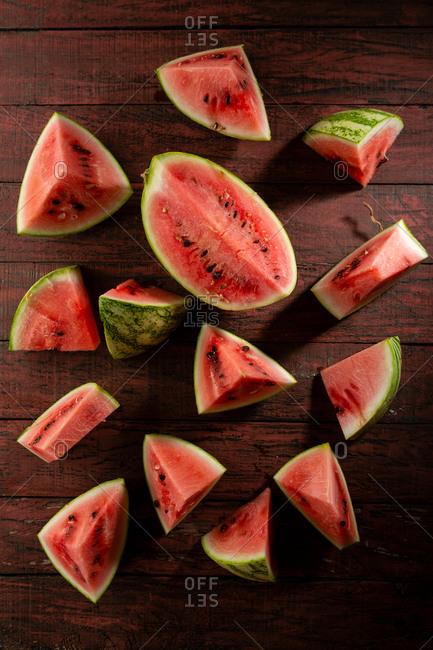 Fresh and ripe watermelon slices