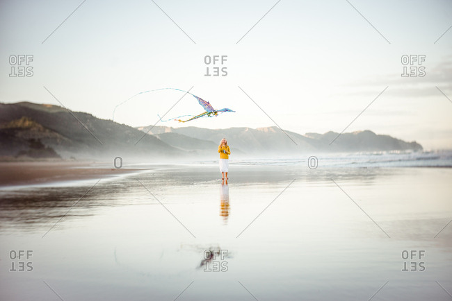 Girl flies a kite on the coast