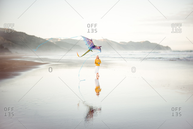 Girl flies a kite on the beach