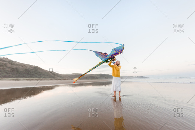 Girl flies a kite on a windy beach