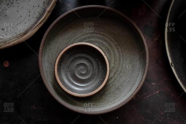 Dark gray ceramic plates