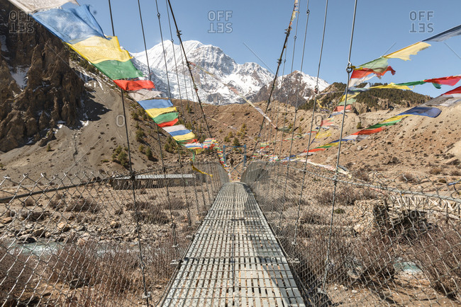 Nepali Bridge with Prayer Flags