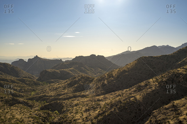 Scenic view of mountains against sky during sunny day at Catalina State Park