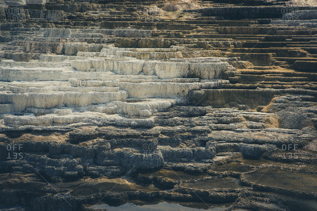 Detal of calcium carbonate in Mammoth Hot Springs.