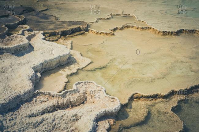 Detal of calcium carbonate in Mammoth Hot Springs