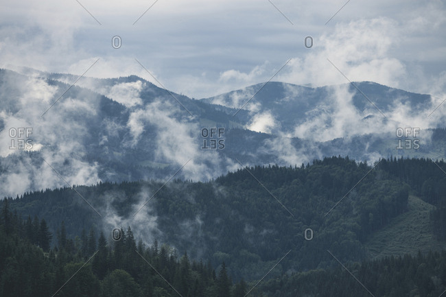 Scenic view of Great Smoky Mountains National Park against cloudy sky