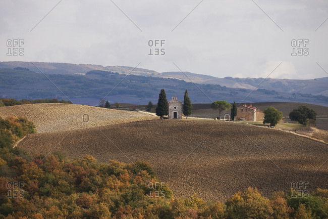 Tuscany landscape with a little chapel of Madonna di Vitaleta