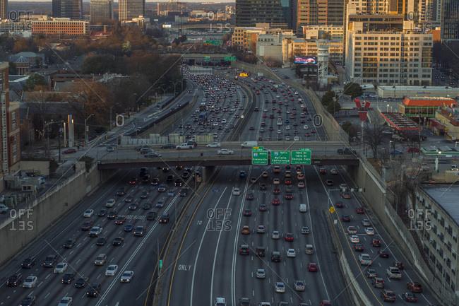 Atlanta, Georgia, USA - January 24, 2019: Freeway Traffic in Downtown Atlanta, Georgia