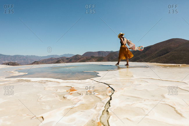 tourist walks in the hot springs at hierve del agua oaxaca mexico