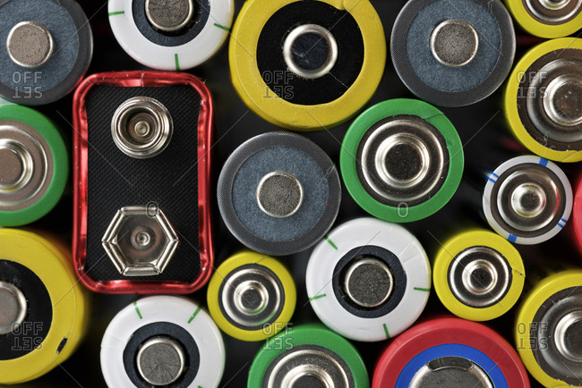 Close-up of colorful batteries
