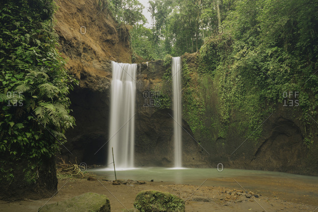 Scenic view of waterfall in forest at Indonesia