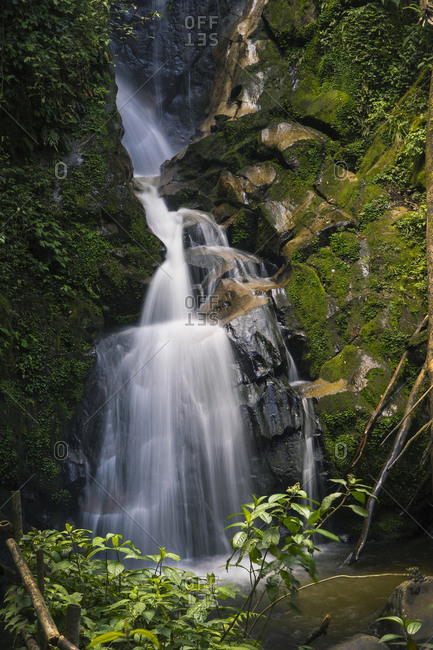 Low angle view of waterfall over rocks in forest at Indonesia