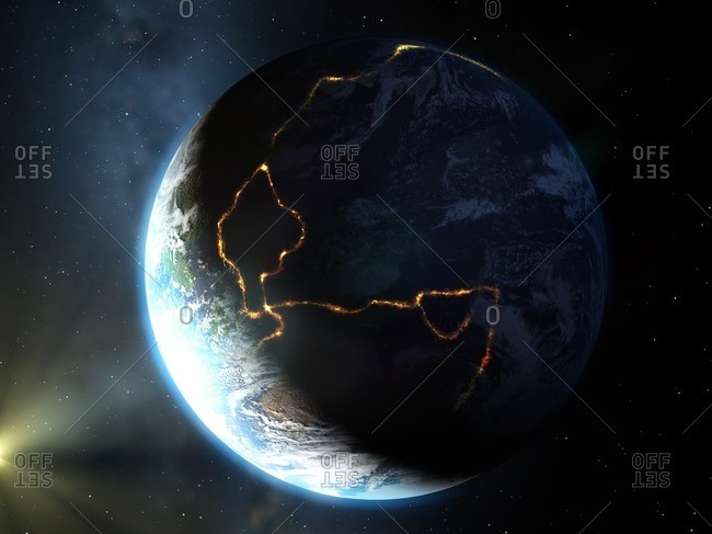 Artwork of the Ring of Fire, a region of tectonic plate boundaries around the Pacific Ocean