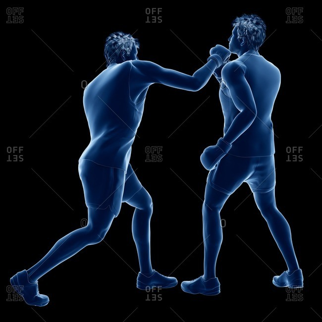 Two men boxing, computer illustration.