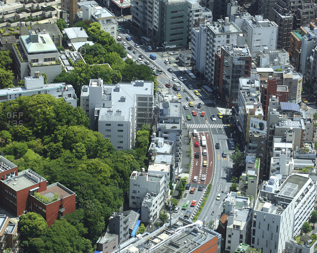 Japan, Tokyo - October 4, 2017: Aerial view of cityscape during sunny day
