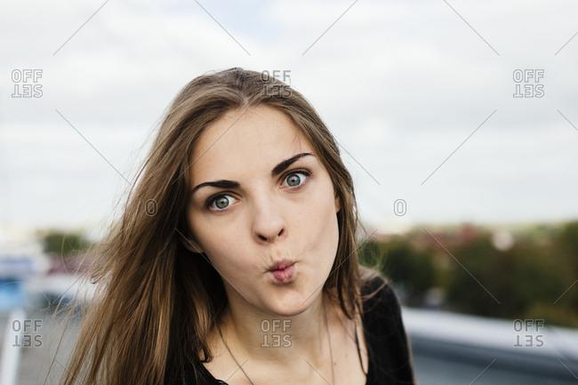 woman grimacing close up