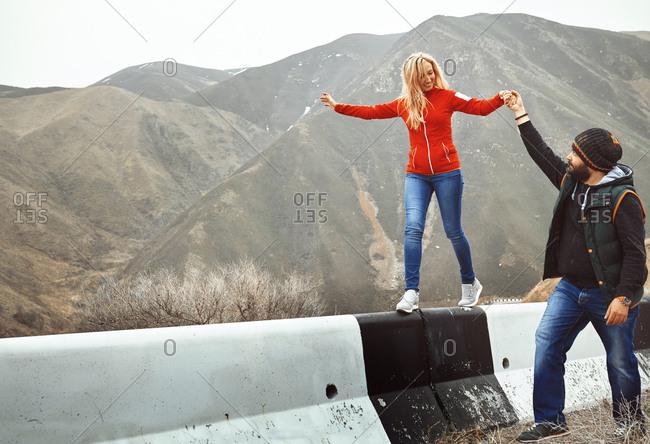 Couple having fun in the mountain area