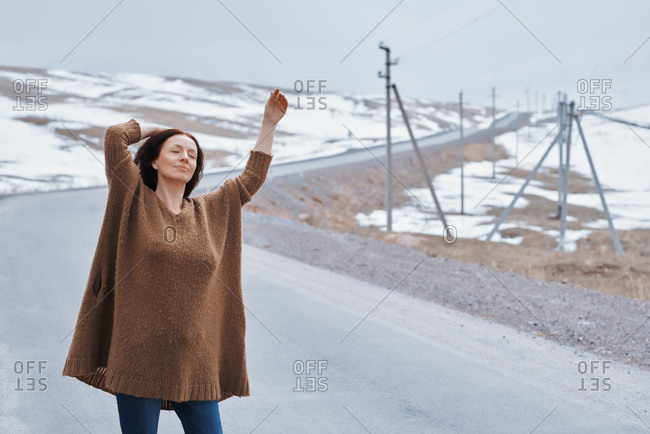 Woman enjoying the winter and nature