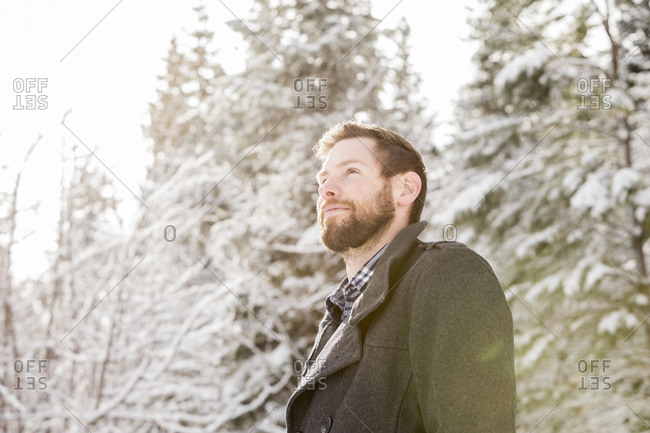 Low angle view of thoughtful man looking away while standing in forest during winter