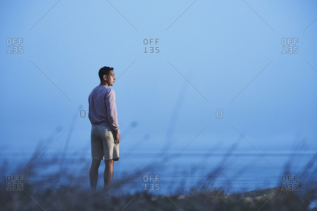 Rear view of man looking away while standing at beach against clear blue sky at dusk