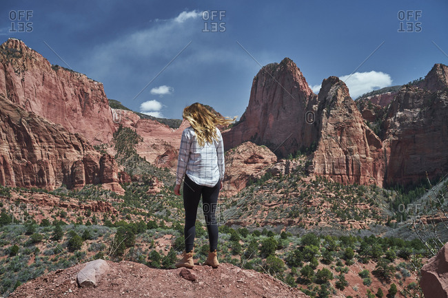 Rear view of female hiker standing on rock formation against blue sky at Zion National Park