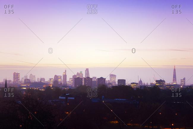 November 13, 2015: UK- London- skyline in morning light