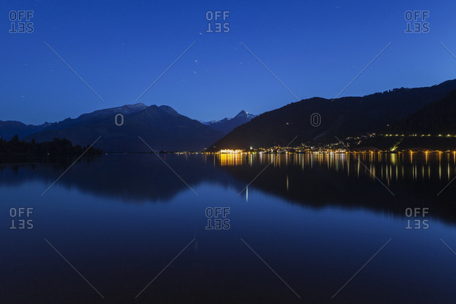 Austria- Salzburg State- Zell am See- Zell lake and mountain panorama at night