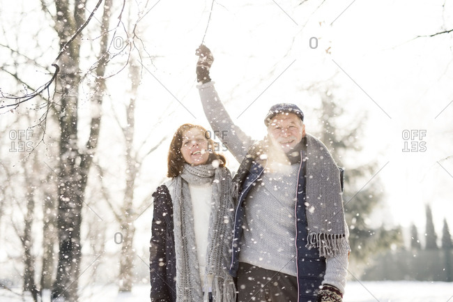 Happy senior couple in winter landscape