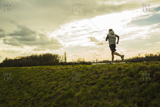 Germany- Mannheim- young man jogging