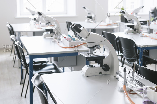 Microscopes in a science lab classroom