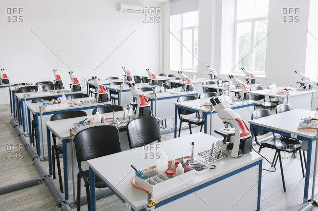Interior of a science lab classroom