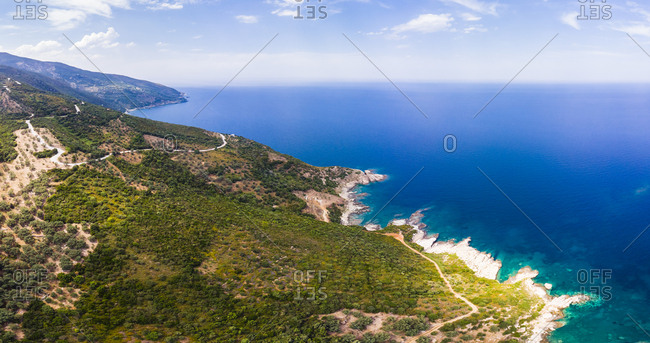 Greece- Pelion- Pagasetic Gulf- Sound of Trikeri- Region Volos- Aerial view of coast Pelion