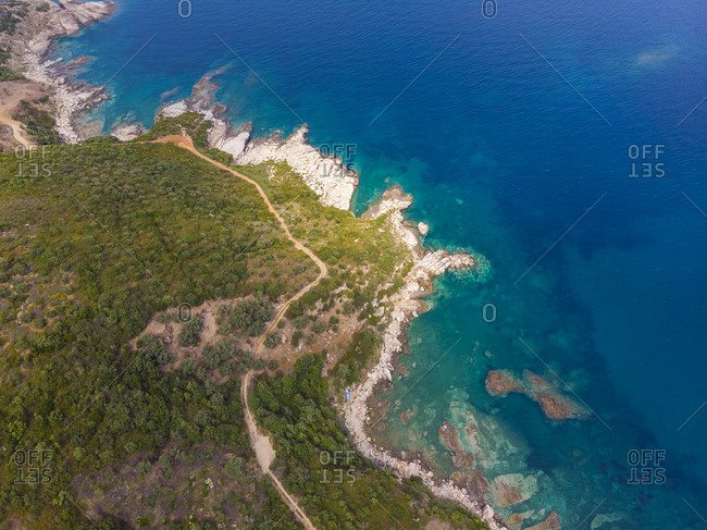 Greece- Pelion- Pagasetic Gulf- Aerial view of coast Pelion