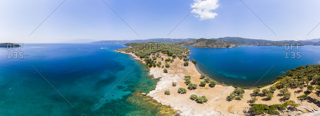 Greece- Thessalia- Volos- Pagasetic Gulf- Peninsula Pelion- Sound of Trikeri- Aerial view from Bay of Milina to Island Alatas
