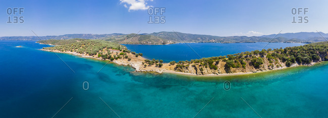 Greece- Aegean Sea- Pagasetic Gulf- View from Bay of Milina to Alatas Island- Holy Forty Monastery