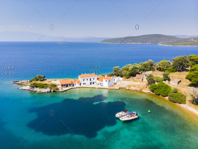 Greece- Aegean Sea- Pagasetic Gulf- Peninsula Pelion- Aerial view of Tzasteni