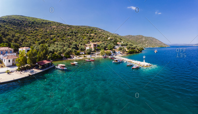 Greece- Aegean Sea- Pagasetic Gulf- Peninsula Pelion- Aerial view of fishing village and bay of Kottes