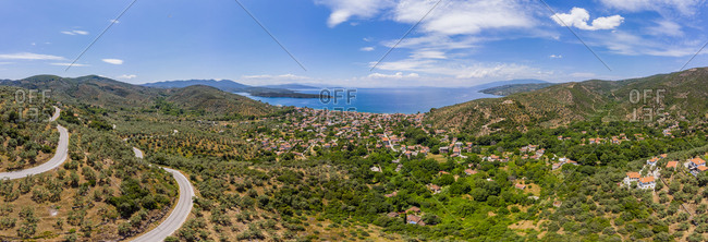 Greece- Aegean Sea- Aerial view of Bay of Milina