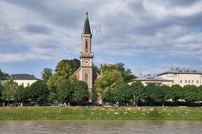 June 13, 2019: River Salzach and Christ church- Salzburg- Austria