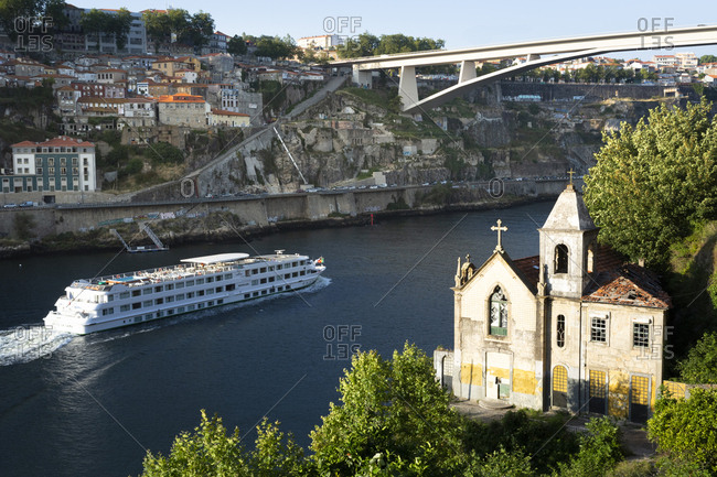 June 29, 2019: View from Gaia to Douro river with cruise ship- Porto- Portugal