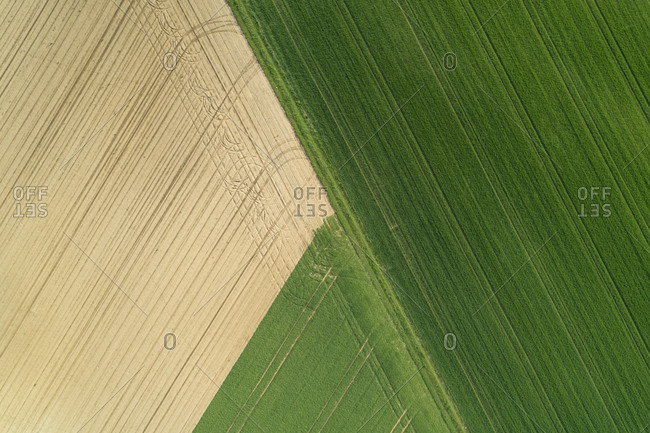 aerial view of agricultural fields- Franconia- Bavaria- Germany