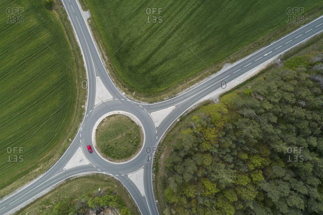 Aerial view of roundabout intersection with traffic. Franconia- Bavaria- Germany.