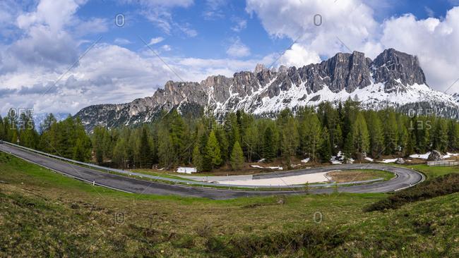 View to Mountain Pass Road Giau Pass- Dolomites- Italy