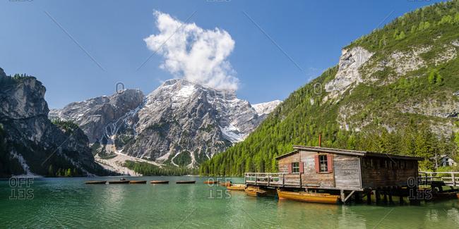 Boathouse at Pragser Wildsee- Braies Dolomites- Alto Adige- Italy