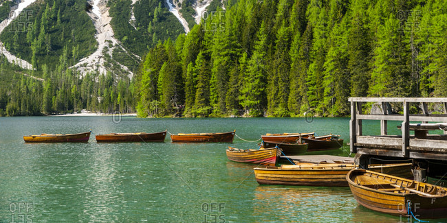 Row of rowing boats on Pragser Wildsee- Braies Dolomites- Alto Adige- Italy