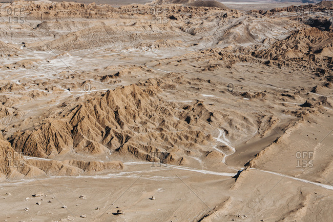 Aerial view of dramatic landscape at desert