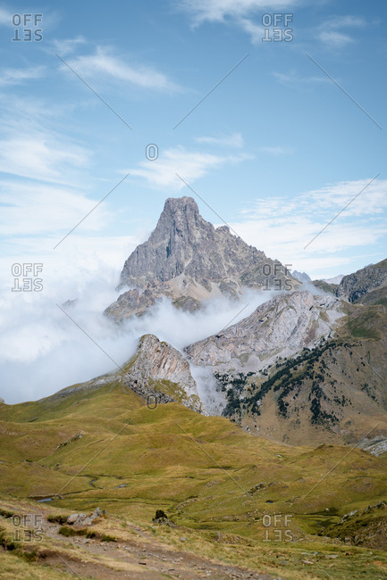 Cloud inversion covering the Ossau Valley in French Pyrenees
