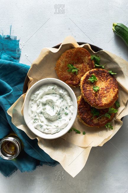 Vegetable cutlets with vegetarian sauce in a pan