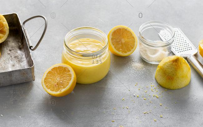 Homemade lemon curd in glass jar